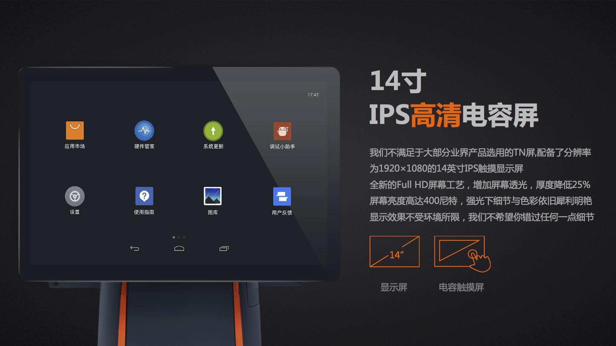 14寸IPS高清电容屏