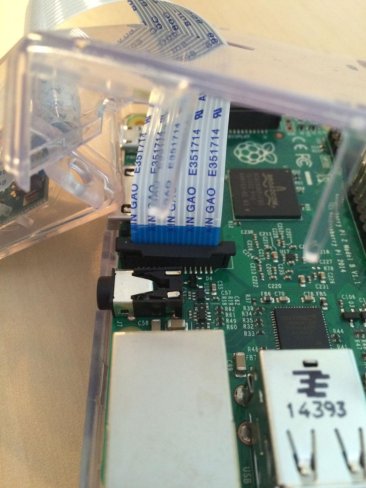 Figure 1: Installing the Raspberry Pi camera board.