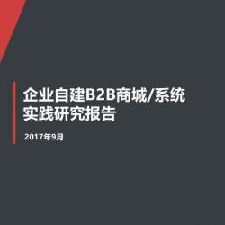 移动信息化研究中心:2017年企业自建B2B商城系统实践研究报告