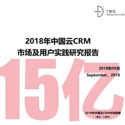 T研究:2018年中国云CRM市场及用户实践研究报告